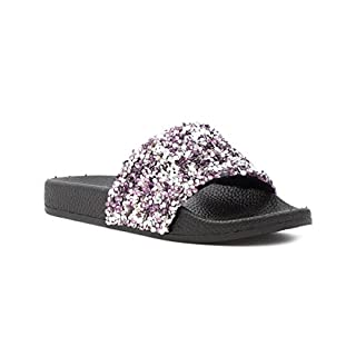 Lilley Girls Silver and Pink Slip On Slider - Size 3 UK - Multicolour