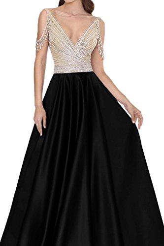 ivyd ressing Femme col V pierres rueckenfrei robe satin Party Prom robe Lave-vaisselle robe robe du soir Schwarz