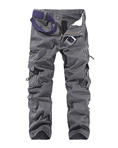 DianShaoA Herren Airborne Trousers Cargohose Freizeithose Outdoorhose Tapered Fit Anglerhose Cargohose Arbeitshose Rauchfarben 31
