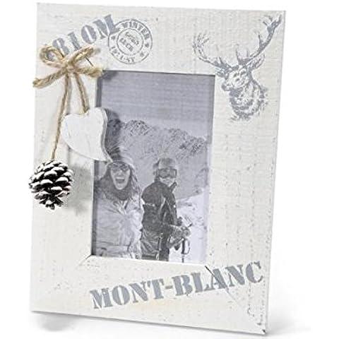 2 Cornici portafoto in legno, cornice con decorazionia cuore e