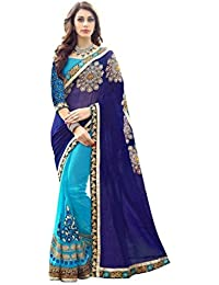 Indian Designer Bollywood Collection Branded Women's Designer Blue Georgette Embroidered Saree With Blouse By...