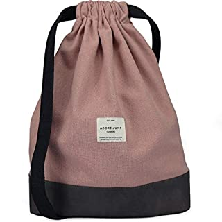 Adore June Daypack Bob modern Drawstring Backpack Gym Bag for Sports, Travel and City, padded Women & Men Sports Bag with Inside Pocket and Zipper Security Bag, Rose
