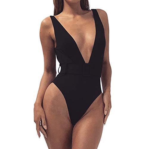 SuperSU Damen Sommer Sexy Einfarbig Schnalle mit Einteiler Swimsuit One Piece Badeanzug,Frauen Sexy Bikini |Bademode Zweiteiler |Bademode Einteiliger |Beachwear