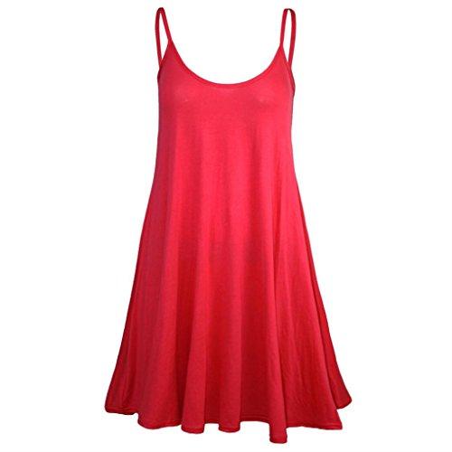 MRULIC Frauen Sommer Cool Lässiges ärmelloses Gefaltetes Mehrlagen Spaghetti Tops Strandkleid Trägerkleid Shirt Bluse Oberteile (EU-36/CN-S, Rot 2)