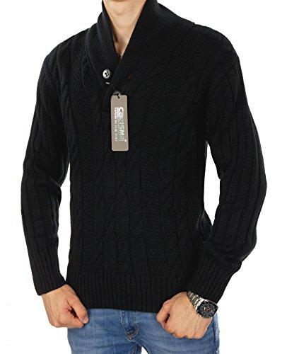 CARISMA Herren Cardigan KOLLEKTION 1 Strickpullover Jacke Muster Regular Fit Modell 2 Schwarz