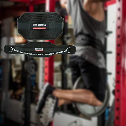 BOSS-FITNESS-Weight-Lifting-Dipping-Belt--75-Cushioned-Back-Support-with-Extra-Strength-25-Chain--Perfect-for-Bodybuilding-CrossFit-Home-Gym-Dip-Pull-ups-Exercise-Workouts--Tested-with-60KG