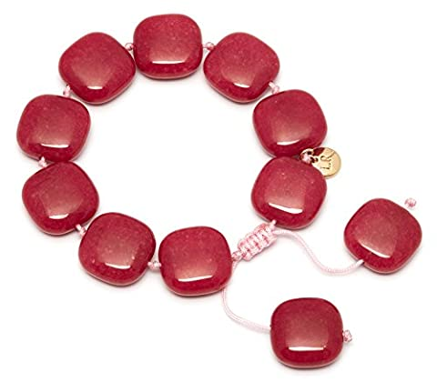 MAINLINE Geotopia Smooth Square Pillar Box Red Quartzite Bracelet of Length 8-10cm