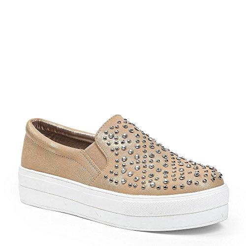 Ideal Shoes–slip-on Glitterlack und Kette Strass Kristall und Nägel Dara Gold - Doree