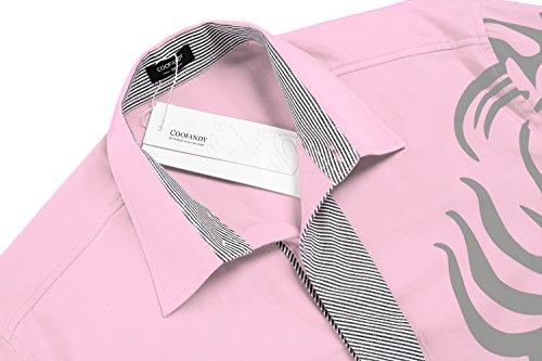 Coofandy Chemise Homme Imprimé Manche Longue Coton de Marque Col Italien Casual Décontracté Taille S-XXXL Rose Clair