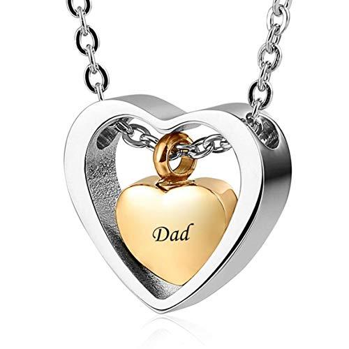 rfrrsss Nützliche 1 Stück Herzförmige Kassette Halskette Asche Andenken Anhänger Halskette für Frauen & Mädchen (kein Vater) -