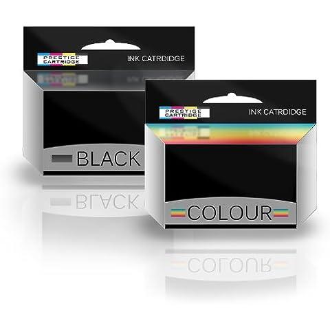 Prestige Cartridge HP 56 & HP 57 - Pack de 2 cartuchos de tinta remanufacturados, tricolor y negro