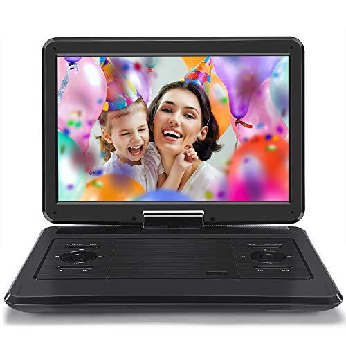 Naviskauto lettore dvd portatile da 14 pollici auto e casa per bambini, autonomia da 6-7 ore, region free, supporta usb/ sd/ mmc/ av out