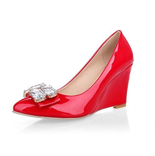 AllhqFashion Damen Hoher Absatz Rein Lackleder Ziehen Auf Spitz Zehe Pumps Schuhe Rot