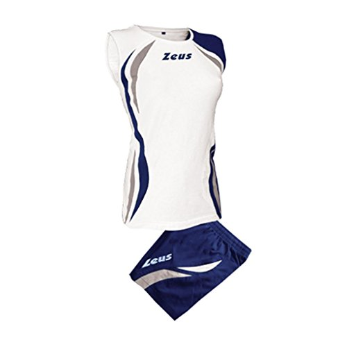 Zeus Damen Volleyball Trikot Hose Shirt Indoor Handball Training Ausbildung KIT KLIMA WEISS BLAU SILVER (M)