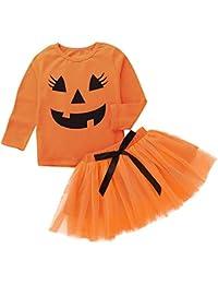 Fossen 1-5 años Niña Disfraz Halloween Calabaza Camiseta + Tutu Falda Corta