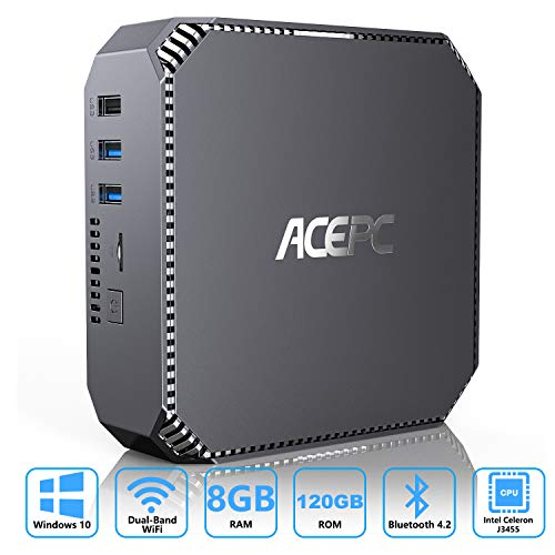 ACEPC Mini-PC Windows 10, 8GB RAM/ 120GB mSATA SSD, Intel Celeron J3455 Prozessor 4K HD Mini Desktop Computer mit 1000Mbps LAN, Dual Band WLAN, BT 4.2, Zwei HDMI-Ausgängen