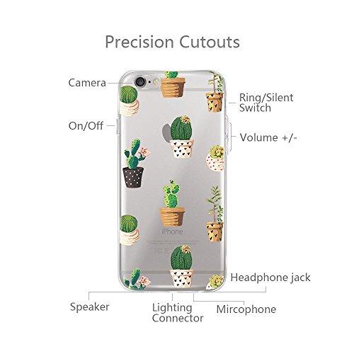 Custodia iPhone 6, Cover iPhone 6s Pacyer® Custodia Chiaro Cristallo Ultra Sottile Morbido Placcatura TPU Gel Case Cover per Apple iPhone 6/6s 4.7 (Cactus ragazza animale) 6