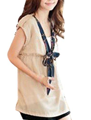 Femme Col V Profond Imprimé Chaîne Nœud Pull-over T-Shirt Beige XS Beige