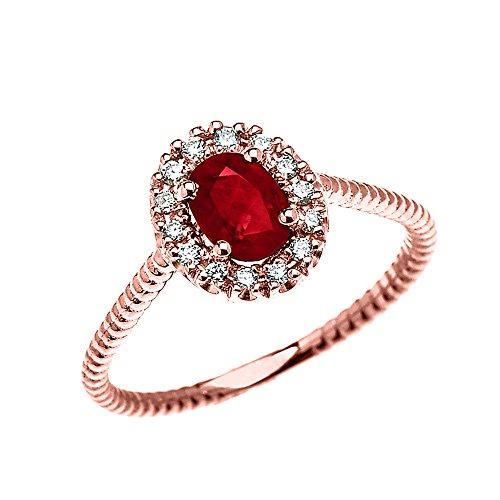 Bague Femme/ Bague De Fiançailles 10 Ct Or Rose Diamant Et Ovale Rubis Solitaire Conception De Corde