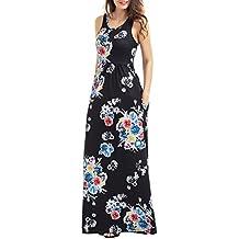 Vestido Floral Maxi, Leapparel Verano Elegante Boho Vintage Floral Impreso Racerback Vestidos de Algodón para el Cóctel y la Boda