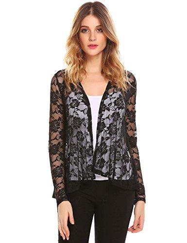 Imposes Damen Casual Spitze Cardigan Langarm Offner Bolero Blazer Sheer Floral Lace Jacke Größe S-XXL (Floral-nylon-strickjacke)