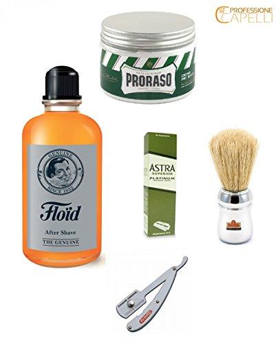 kit-rasatura-professionale-proraso-crema-prebarba-lame-astra-pennello-omega-rasoio-daune-floid-dopo-