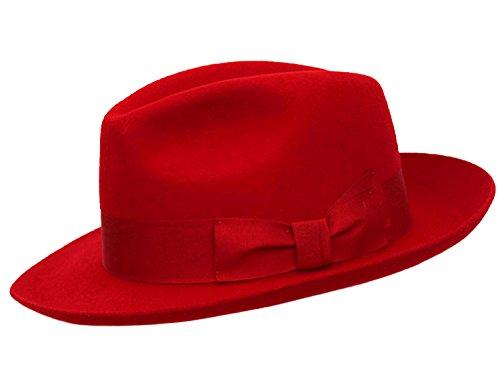 Hochqualitativer, handgemachter Herren-Filzhut mit breiterer Krempe 100% Wolle Gr. 55, rot (Rot Wollfilz-hut Satin)