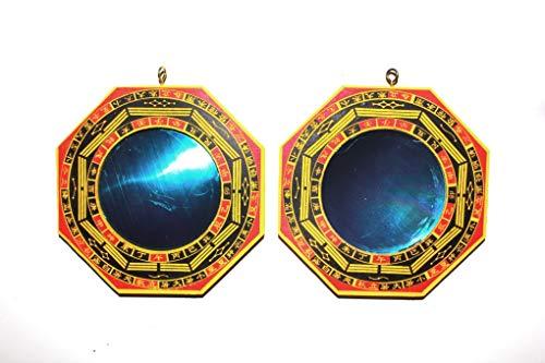 Bagua-Spiegel, Schutz vor passiver negativer Energie & Schutz vor aktiver schädigender Energie, Holzrahmen, Durchmesser 7,5cm, Durchmesser insgesamt 12,5cm