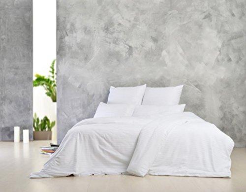 Sei Design Luxus Bettwäsche aus glattem, seidigem Mako-Satin 100% Baumwolle. Elegante Unifarben zum Kombinieren, mit einem edlen Touch und leichtem Glanz. Kopfkissenbezüge sind mit hochwertigem aufgesticktem Logo veredelt (Luxus-bettwäsche)