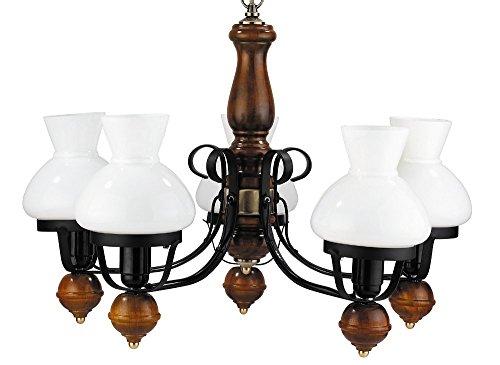 Brauner Echt-Holz Kronleuchter Metall Glas Landhaus 5-flmg Esstisch Wohnzimmer Hängeleuchte Lampe