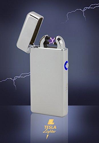 Tesla-Lighter T08 | Lichtbogen Feuerzeug, Plasma Double-Arc, elektronisch wiederaufladbar, aufladbar mit Strom per USB, ohne Gas und Benzin, mit Ladekabel, in edler Geschenkverpackung, Silber