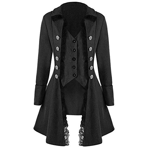 Piraten Langen Damen Kostüm Mantel - Steampunk Mantel Damen Kostüm UFODB Frauen Jacke Gothic Langarm Retro Mittellang Cosplay Uniform Vintage Langer Smoking Barock Punk Jacke Military Coat Pullover Tops
