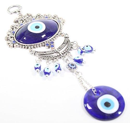 Turco azul mal de ojo ojo grande ovalado con flores protección amuleto colgante de pared decoración para el hogar bendición regalo US Vendedor (gp9631)
