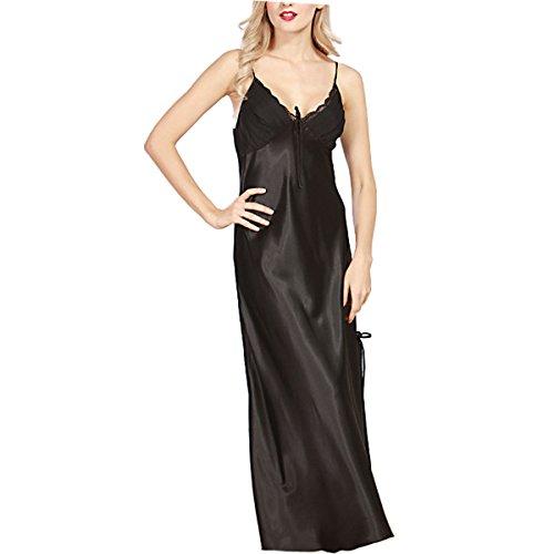 BigForest Femmes Satin Soie Slip Longue Peignoir Pyjama v¨ºtements de nuit robe Black