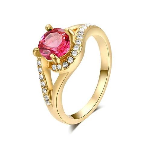 Yoursfs Bague mariage 50mm 18k plaqué Or jaune Solitaire en Cristal rose et blanc pour Femme ou Fille comme Accessoire ou Cadeau