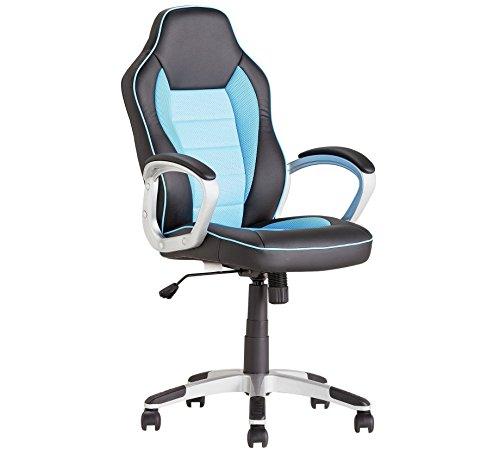 Bürostuhl/Drehstuhl, PU-Leder, gebogene Rückenlehne blau