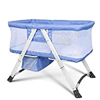 Besrey 2 in 1 Travel Cot Bassinet for Baby Kids with Swing Function, Summer Baby Crib, Blue/Gray