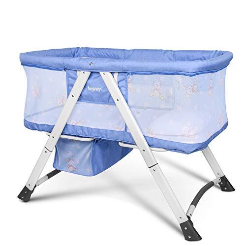 Besrey Cuna para bebé Cunas 2 en 1 Cunas de viaje Cunas plegables - Azul
