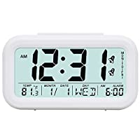 TXL Digital Alarm Clock Table Night Clock Display Time/2 Alarms/Calendar, Snooze/Backlight, Battery Operated Bedside Desk/Shelf Clock for Kids/Teens/Home/Office/Travel-White
