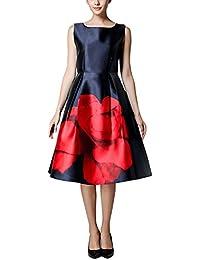 Dolamen Mujer Vestidos, Cuello redondo Vintage y estilo retro, una línea vestido sin mangas Rodilla-largo sin mangas del oscilación, perfecto para el partido, el coctel y la boda