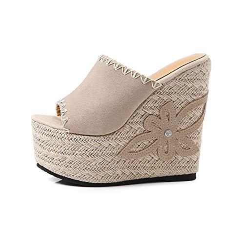 QQCR Leder Super High-Heels Wort Sandalen dicken Boden erhöhte Höhe Damen Out 15CM Sommermode Outdoor Wear (Color : Apricot, Size : 34EU/2.5UK)