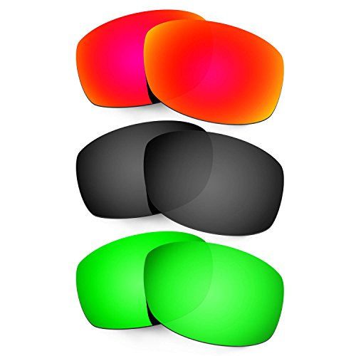 HKUCO Mens Replacement Lenses For Costa Zane Red/Black/Emerald Green Sunglasses