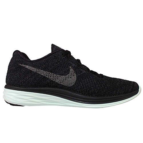 Nike Wmns Flyknit Lunar3 Lb, Chaussures de Running Entrainement Femme Noir - Negro (Blk / Mtlc Pwtr-Anthrct-Brly Grn)