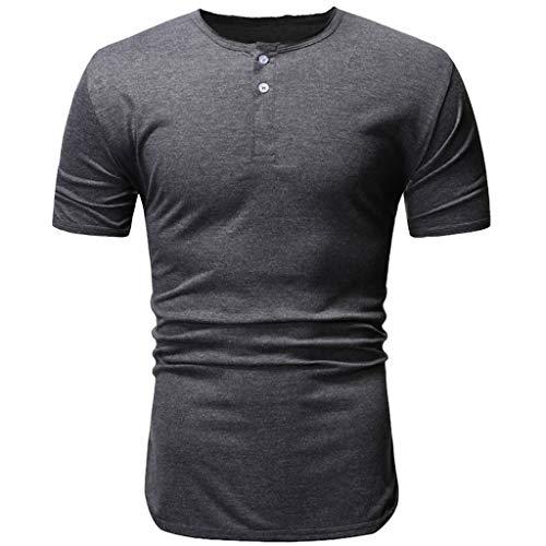 Rosa Raglan Tee (VWsiouev Männer Knöpfe Lässige Kurzarm Raglan Henley Jersey Hoodie T Shirt Sport Tops)