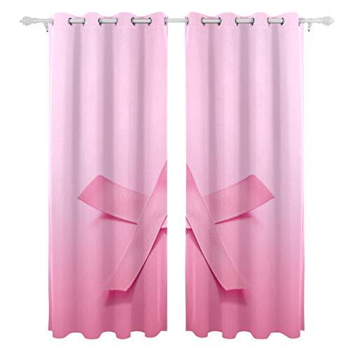 Zemivs Pink Ribbon Brustkrebsbewusstsein Einseitiger Druck Verdunkelungsvorhänge Vorhänge Fensterbehandlung Duschvorhang Paneele Für Schlafzimmer Wohnzimmer Küche Bad 55 X 78 Zoll 2 Stücke