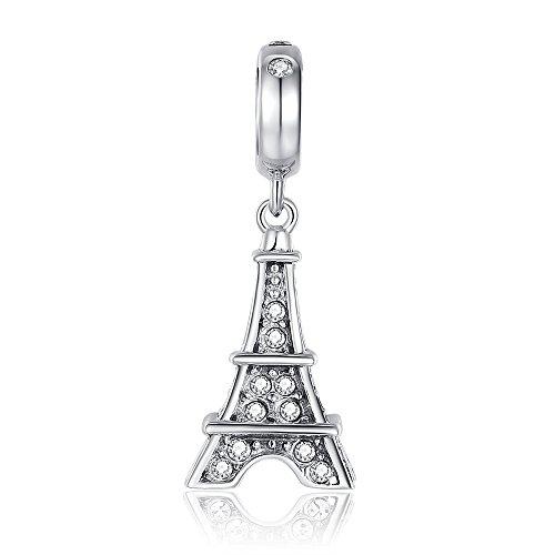 Glamulet®, charm, pendente a forma di torre eiffel, in argento sterling 925, con cristalli swarovski, compatibile con bracciali e collane pandora e chamilia, perfetta idea regalo