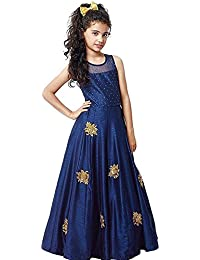 Yjack Creation Kid Party Wear Blue Banglory Silk Semi-Stitched Dress for Girl (Gown_Free Size_8-12 year Girl)
