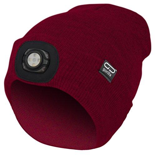 Mütze-Beanie Farbe rot mit LED Licht/Lampe Unisex, OneSize, 3 Stufen dimmbar,...