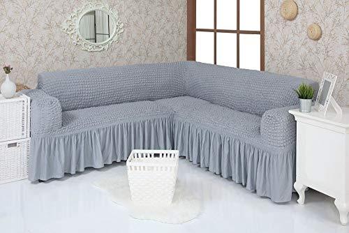 Mixibaby Eck Sofabezug Sofahusse Sesselbezug Sitzbezug Sesselüberwurf Stretchhusse Sofahusse, Farbe:grau