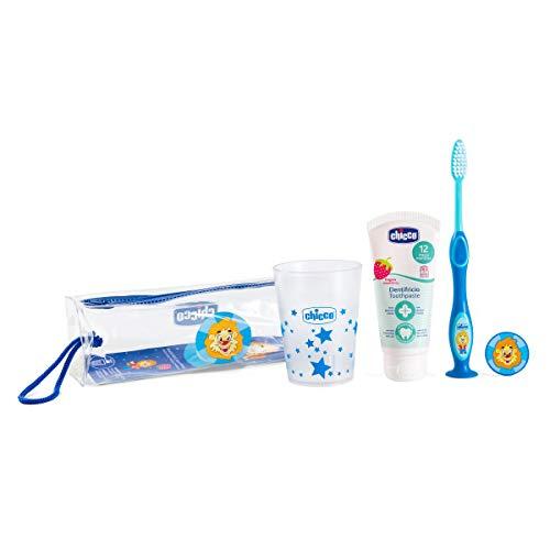 Chicco - Set cepillo de viaje: cepillo d edientes + pasta + estuche + vaso, color azul